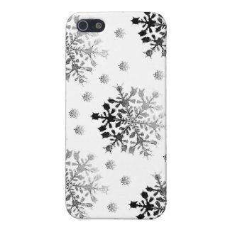 iPhone 5 Case Noir sur la conception blanche de flocon de neige