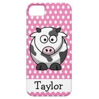 iPhone 5 Case Point de polka rose personnalisé par vache drôle