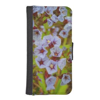 Iphone 5 wallet, lieve blauwe bloemetjes iPhone 5 portemonnee hoesje