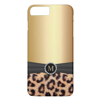 iPhone moderne 7 de léopard de monogramme d'or Coque iPhone 7 Plus