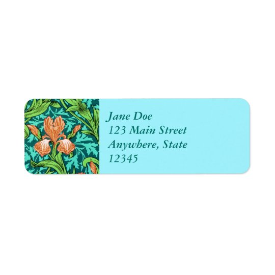 Iris, orange et turquoise de William Morris Étiquette D'adresse Retour