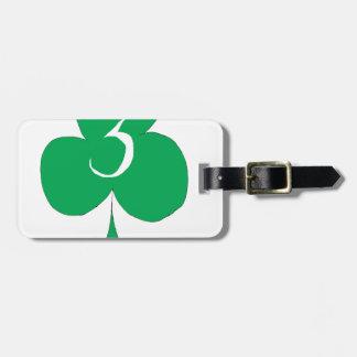 Irlandais chanceux 3 des clubs, fernandes élégants étiquette à bagage