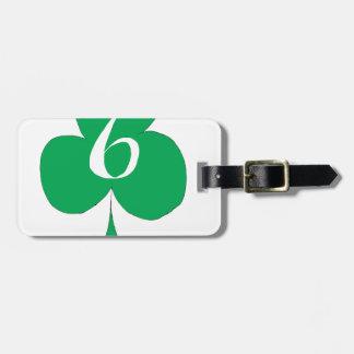 Irlandais chanceux 6 des clubs, fernandes élégants étiquette à bagage