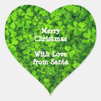 Irlandais Irlande de vert de trèfles de shamrock Sticker Cœur
