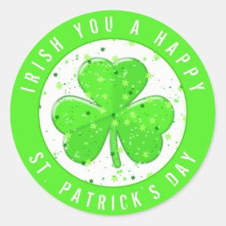 Irlandais vous shamrock de vert du jour de St Sticker Rond