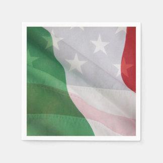 Italien et drapeaux des Etats-Unis Serviettes Jetables