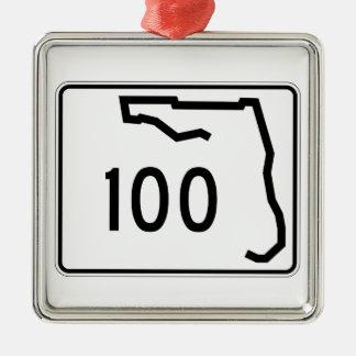 Itinéraire 100 d'état de la Floride Ornement Carré Argenté