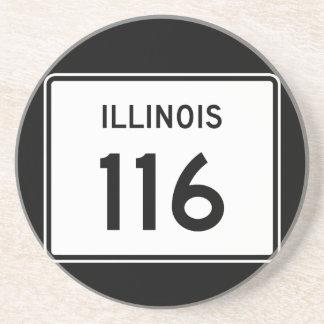 Itinéraire 116 de l'Illinois Dessous De Verre En Grès