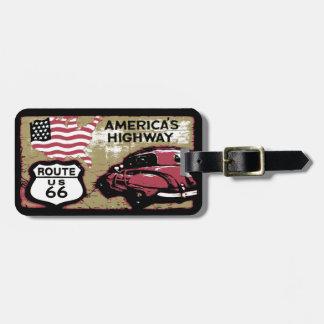 Itinéraire vintage USA 66 Étiquettes Bagages
