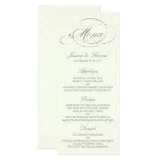 Ivoire chic de calibre de menu de mariage carton d'invitation  10,16 cm x 23,49 cm