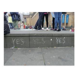 Ja het Krijt Graffiti van de pro-Onafhankelijkheid Wens Kaarten
