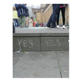 Ja het Krijt Graffiti van de pro-Onafhankelijkheid Wenskaart