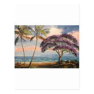 Jacaranda sur la plage carte postale