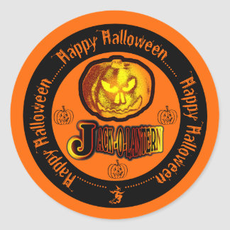 JackOLantern Halloween heureux orange et noir 2 Sticker Rond