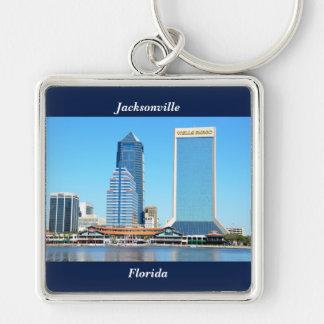 Jacksonville, paysage urbain de la Floride Porte-clé Carré Argenté