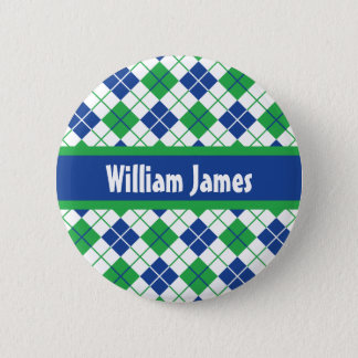 Jacquard bleu-vert badge rond 5 cm