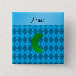 Jacquard nommé personnalisé de bleu de ciel de badge carré 5 cm