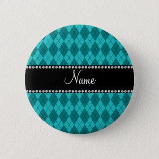 Jacquard nommé personnalisé de turquoise badge rond 5 cm