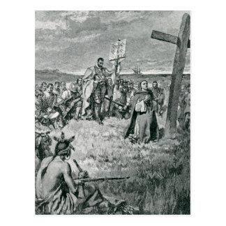 Jacques Cartier installant une croix chez Gaspé Carte Postale