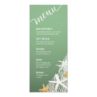 Jade du menu   de mariage de plage de fabrication carton d'invitation  10,16 cm x 23,49 cm