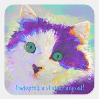 J'ai adopté un animal d'abri ! autocollant carré