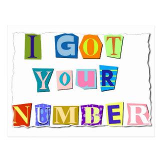 J'ai obtenu votre carte postale de nombre