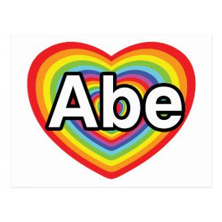 J'aime Abe, coeur d'arc-en-ciel Carte Postale
