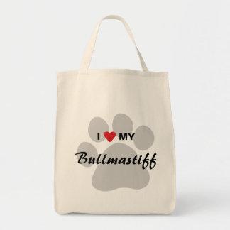 J'aime (coeur) mon Bullmastiff Pawprint Sac En Toile Épicerie