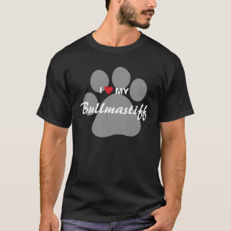 J'aime (coeur) mon Bullmastiff Pawprint T-shirt