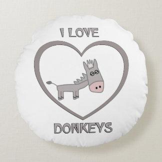 J'aime des ânes coussins ronds