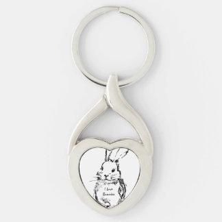 J'aime des lapins porte-clé argenté cœur torsadé