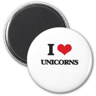 J'aime des licornes magnet rond 8 cm