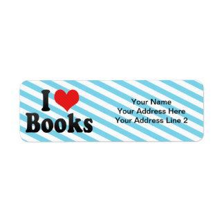 J'aime des livres étiquette d'adresse retour