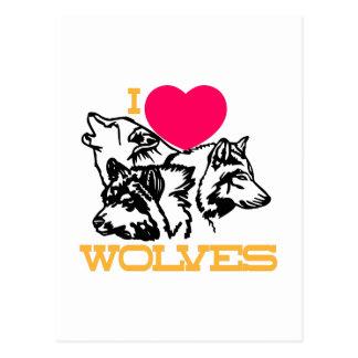 J'aime des loups cartes postales