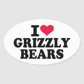 J'aime des ours gris sticker ovale