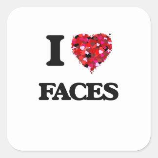 J'aime des visages sticker carré