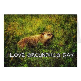 J'aime la carte de voeux de jour de Groundhog