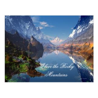 J'aime la carte postale de montagnes rocheuses