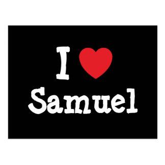 J'aime la coutume de coeur de Samuel personnalisée Carte Postale