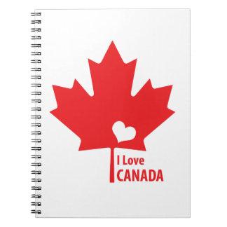 J'aime la feuille d'érable du Canada Carnets