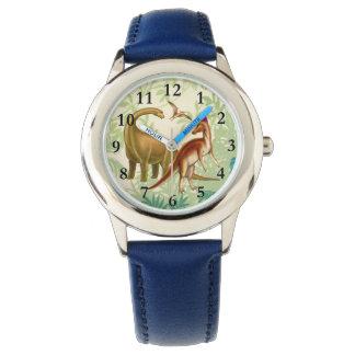 J'aime la montre d'enfants de dinosaures montres cadran