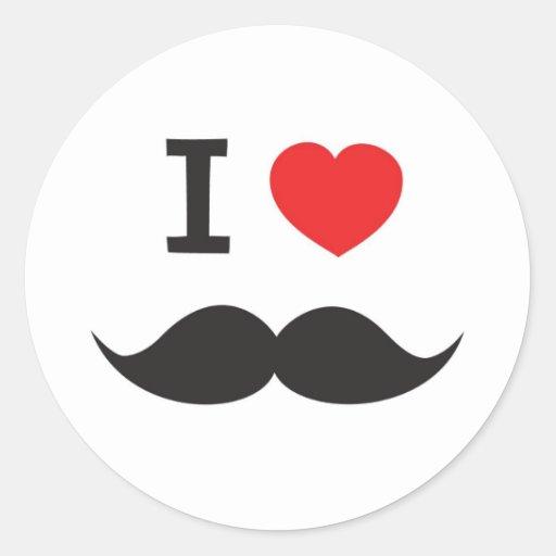 J'aime la moustache adhésifs ronds