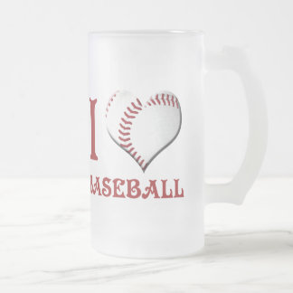 J'aime le base-ball frosted glass beer mug