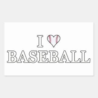 J'aime le base-ball sticker rectangulaire