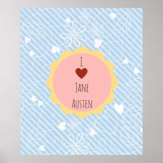 J'aime le bleu de Jane Austen Poster