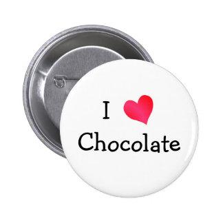 J'aime le chocolat badge rond 5 cm