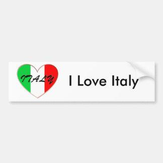 J'aime le coeur et le drapeau de l'Italie Autocollant De Voiture