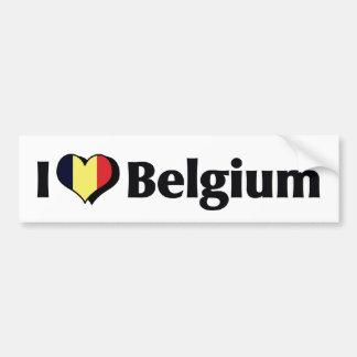 J'aime le drapeau de la Belgique Autocollant De Voiture