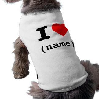 """""""J'AIME (le nom personnalisable) """" Vêtements Pour Chien"""
