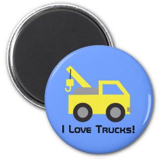 J'aime les camions, véhicule jaune mignon pour des magnets
